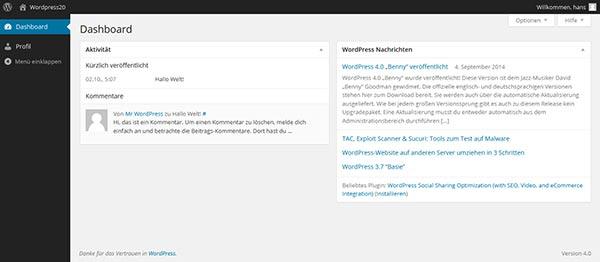 wordpress komponenten dashboard_abonnent