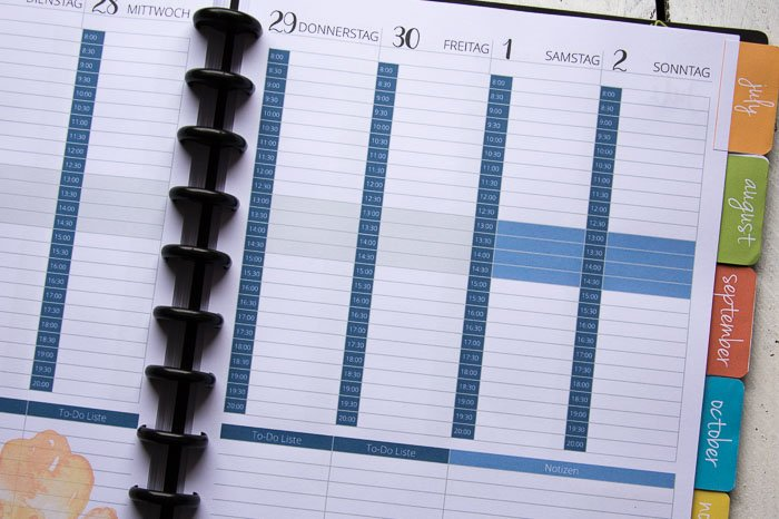 Planer mit Zeiteinteilung