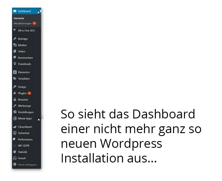 WP Dashboard ältere Installation